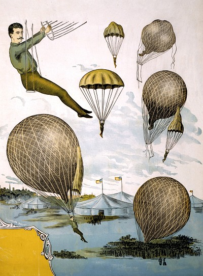 Vintage-Circus-Posters-Aerial-balloon-performance-with-tents-and-audience-below