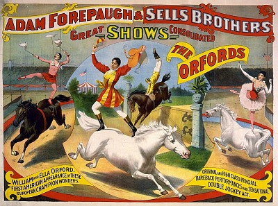 Vintage-Circus-Posters-Bareback-horse-riders-shown-doing-various-stunts