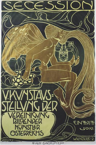 art nouveau poster of five art exhibition of the association of austrian artists of secession