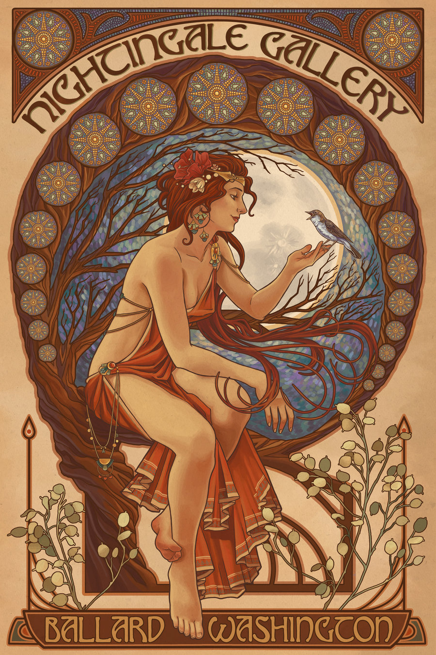 nightingale gallery poster by chronoperates art nouveau