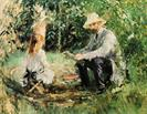Eugene Manet and His Daughter in the Garden by Berthe Morisot 1883