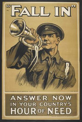 Fall in answer now in your countrys hour of need war poster