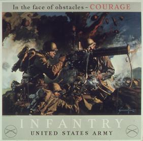 In the face of obstacles Courage poster war poster