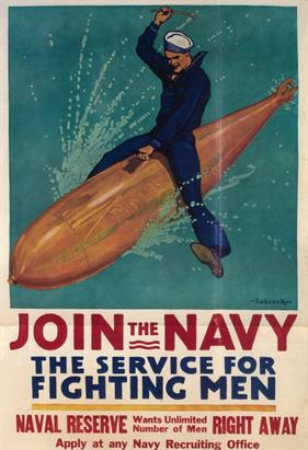 Join the Navy the Service for Fighting Men war poster