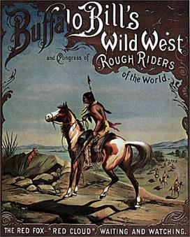 Vintage-Circus-Posters-Buffalo-Bill-Red-Cloud-Indian-On-Horseback