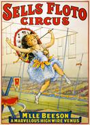 Vintage-Circus-Posters-Sells-Floto-Circus-Mlle-Beeson-A-Marvelous-High-Wire-Venus-1921