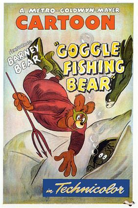barney bear goggle fidhing bear 1949 movie poster