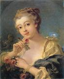 francois boucher Young Woman with a Bouquet of Roses